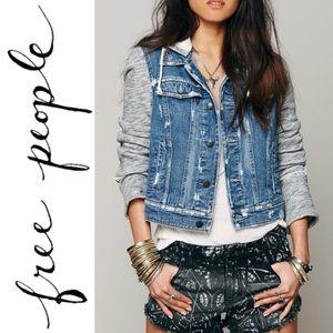 Free People Cropped Distressed Jean Jacket